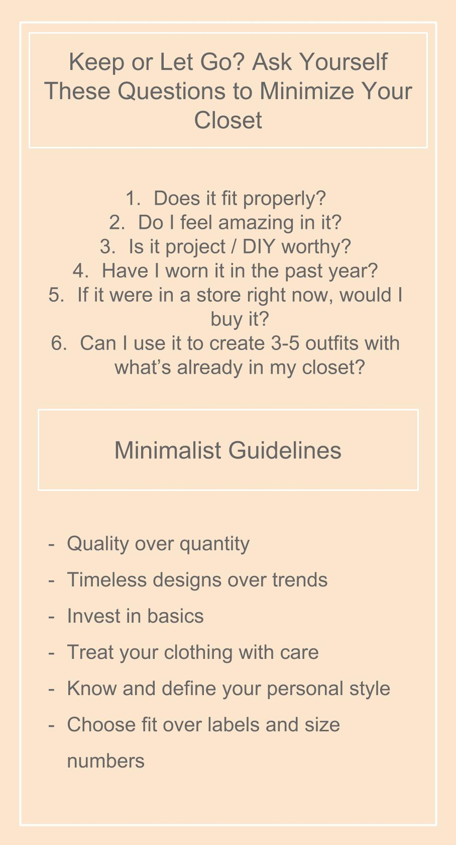 minimalism, minimalist guide, minimalist guideline, how to declutter your closet, how to purge your closet, slow fashion, conscious consumer, sustainable style, sustainable style guide